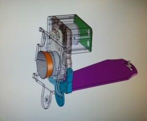 Mekanisme for Blitzhus tegnet i CAD